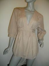 NEW + TAGS * FRENCH CONNECTION * BEIGE COTTON CHECKED ARTIST SHIRT SZ 16 RRP £45