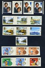 Lot of 45 stamps, UK, 1981 Scott 933-964 Two mint, 8 Complete Sets