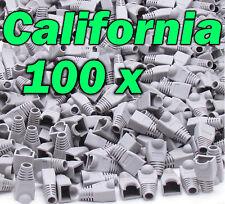 Lot 100 X Gray Rj45 Connector Cat5 Modular End Cap Boot Head Plug Cat6 Cable 5E