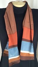 "Vintage Vera Neumann Oblong Scarf Brown Blue 40""x10"""