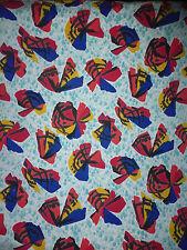 ancien tissu textile ameublement coton imprimé papillon fleurs Art déco ? 75x80