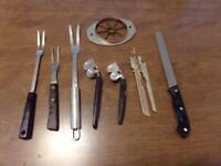 Vintage Lot Of Kitchen Utensils Meat Forks, Bread Knife,Sharpeners etc. Lot #7