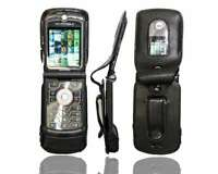 caseroxx Leather-Case with belt clip for Motorola Razr V3 in black made of genui