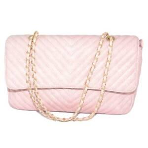 Borsa donna rosa rettangolare striata con scopartimenti chiusura clip e zip inte