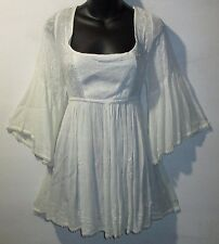 Top Medium Ivory Lace & Embroidery Empire Waist Long Tunic Wide Sleeves NWT 6707