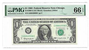 1963 $1 CHICAGO FRN, PMG GEM UNCIRCULATED 66 EPQ BANKNOTE, RARE G/C BLOCK
