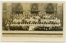 RPPC Large Group Men, Women, Suit, Ties, Straw Hats, White Dresses, Church