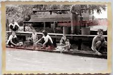 50s THAILAND BANGKOK FLOATING MARKET BOAT WOMEN LADY CLOTHES Vintage Photo 28122