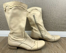 DMN Italy Damen Gr. 40 Stiefel Echtleder Cream Lederstiefel Boots leather #S2