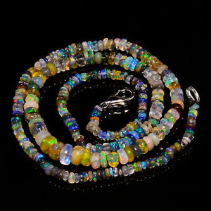 """34.85 Ct Multi Ethiopian Opal Gemstone Rondelle Smooth Beads Necklace 17"""" A-5162"""