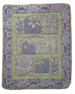 Waverly Girls Crib Toddler Bed Quilt Purple Green Floral Print Cotton