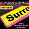 1 x HD Car Number License Registration Plate Pink Trim Surround Frame Holder. G
