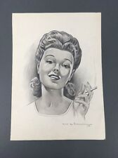 Antique 1940's Woman Smoking Illustration Art Drawing Portrait By T.E. Schrock