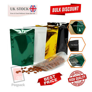 Shiny foil Glossy Stand Up Pouches Mylar Food Grade Zip Lock Heat Resealable Bag