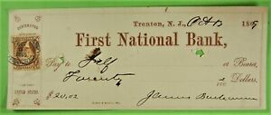 Bank Check, First National Bank, Trenton, NJ 1864, Revenue stamp R 6
