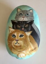 3 Cats—Hand Painted on a Rock
