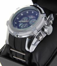 Chrome Finish  Watch Round Heavy Case Silicone Band Oversized Sport Men's Watch