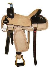 "'Thsl' Western Saddle Tooled Nat./Dark Brn Hard Seat 16.5""/17"" (1095) * New*"