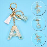 Women Acrylic A-Z Alphabet Keychain Bag Pendant Tassel Key Ring Cute
