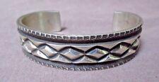 Native Navajo Heavy Sterling Silver Cuff Bracelet by Elvira Bill JBR0102