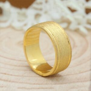7.5mm 14K Matte Finish Yellow Mens Gold Band Ring Wedding Anniversary Gift KD056