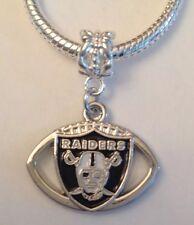 Las Vegas Raiders Football Charm For Euro Charm Bracelet NFL Jewelry US SELLER