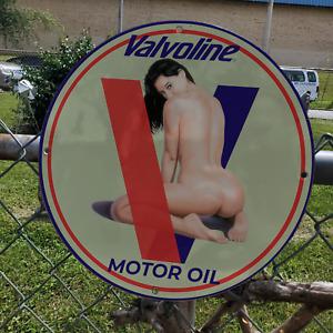 Vintage Valvoline Motor Engine Oil Lubricants Porcelain Gas & Oil Pump Sign