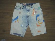 MENS SIZE 38 LIGHT BLUE/PAINT SMEARED LEVI 569 SHORTS - NWT