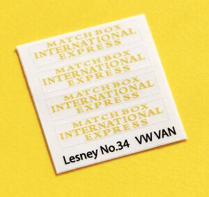 Lesney No.34 'Matchbox International Express' replacement sticker decal set
