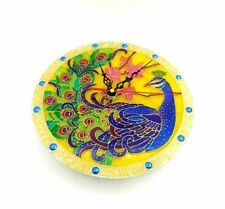 Handpainted stained glass wall clock peacock /Vintage Style Bird Home Decoration