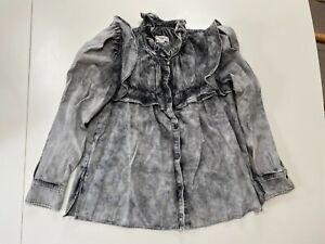 Isabel Marant Etoile Idety denim ruffle blouse, FR36