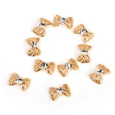10PCS 3D Gold Alloy Rhinestones Bow Tie Nail Art Tips Glitters DIY Decorations