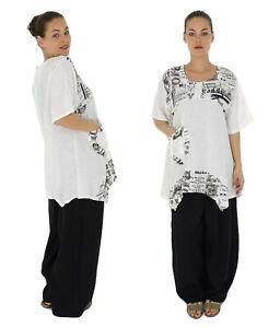 HI600W46 Damen Bluse Leinen Tunika Lagenlook Vintage Gr. 46 weiß