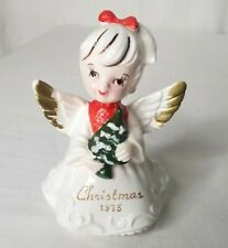 Vintage Christmas Angel Embossed Gown Gold Tone Tipped Wings Ponytail 1975 Japan