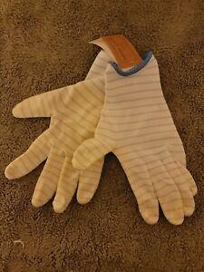 Small Garden Gardener Gardening Gloves Yard Nitrile Knit Wrist Blue Stripes
