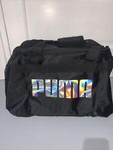 """PUMA Defiance 18"""" Duffel Bag Black/Silver Gym Bag Adjustable Shoulder Strap NEW."""