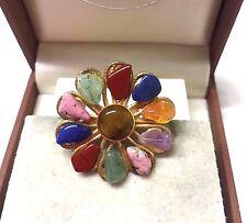 Vintage Semi Precious Stones  Brooch Pin