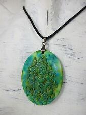 Jambhala dios de la riqueza Buda amuleto turquesa piedra tallada tíbet ~ 1970
