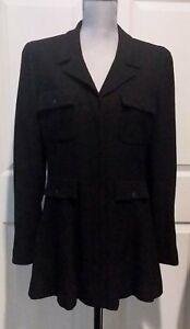 CHANEL 2002 Black Tweed Jacket Blazer, FR 44 / US 12, Made in France, excellent