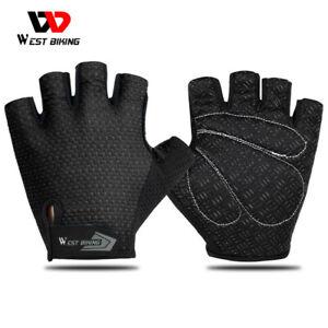 WEST BIKING Cycling Gloves Bike Fitness Gym Half Finger Gloves Black Size XL