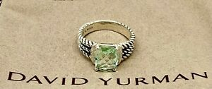 David Yurman 10 X 8MM Petite Wheaton Prasiolite & Diamonds Ring Size 9