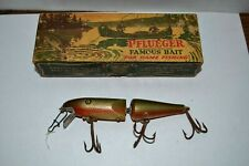 Vintage Jointed Pflueger Palomine Red / Gold Clean Wood Used Fishing Lure W/Box