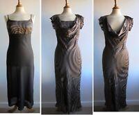 Vintage 20s Downton Abbey Style Dress with Under Slip Devore Burnout Silk Size 8