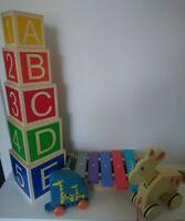 Baby Toddler wooden toy bundle Hamleys Musical stacking Pull along Etc