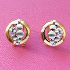 Boucles d'oreilles plaqué or jaune blanc cristal Swarovski bulles art déco rétro