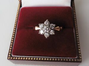 Antique Vintage Diamond Flower Ring - 18ct