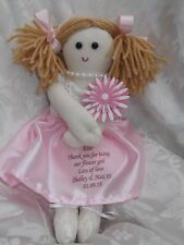 PERSONALISED HANDMADE BRIDESMAID FLOWER GIRL RAG DOLL GIFT MADE IN UK