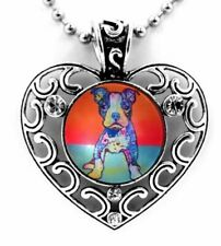 "COLORFUL BOSTON TERRIER DOG SNAP BUTTON CRYSTAL HEART NECKLACE 25"" CHAIN ~New!"