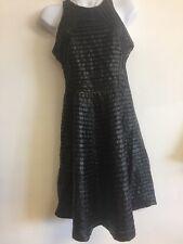 Parker Black Beaded Open Back Pu Leather  Evening Gown Dress Medium $462
