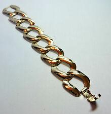 "Vintage New Old Stock NOS Yellow Gold Tone Large Link BRACELET  7"" Long #FASH27"